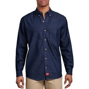 Dickies® Men's Long Sleeve Button-Down Denim Shirt